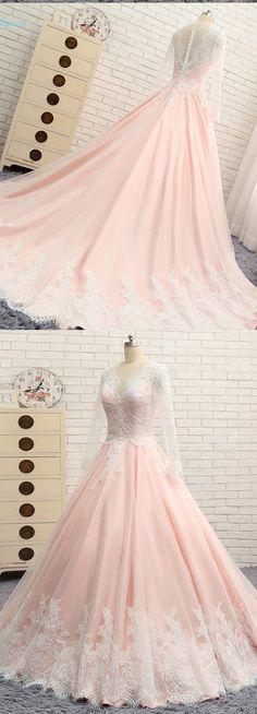 Quinceanera Dress,Sweet 16 Dresses,Blush pink chiffon long lace