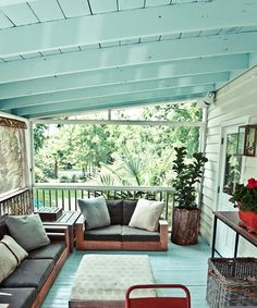 blue porch ceilings, a southern tradition   Two Doors Down