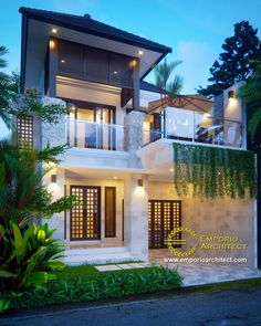 Soeharmin Private House II - Semarang, Jawa Tengah- Quality house design of architectural services, experienced professional Bali Villa Tropical designs from Emporio Architect. Bungalow House Design, Modern House Design, Bali House, Home Room Design, Facade House, Tropical Houses, Floor Design, House Front, My Dream Home