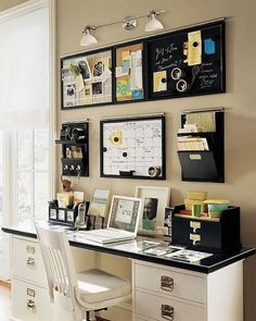 Orgainized on Wall. Creatively organized home office boosts your mood and make you more productive. http://hative.com/creative-home-office-organizing-ideas/