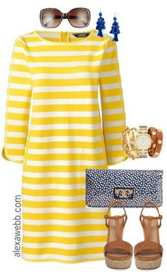 Plus Size Yellow Striped Dress - Plus Size Preppy Outfit - Plus Size Fashion for Women - alexawebb.com #alexawebb
