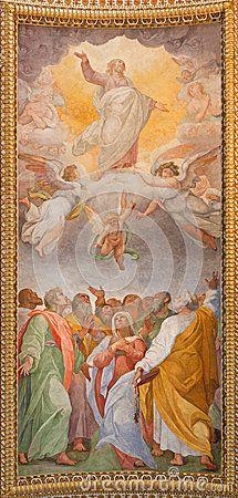 Rome - The fresco of Ascension of the Lord in the ceiling of church Chiesa di Santa Maria ai Monti
