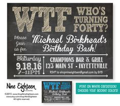 40th Birthday Party Invitation, WTF Who's Turning Forty Adult Birthday invitation. Custom Printable PDF/JPG. Choose your colors.