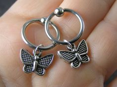 Pair Silver Butterfly Captive Bead Rings by EyeCandyBodyJewelry