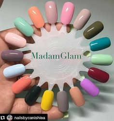 A selection for the weekend! Bold or delicate, it's your decision! Have a glamorous weekend! #Repost @nailsbycanishiea with @repostapp ・・・ My @madam_glam gel collection! 10 of these I swatched today ! This gel polish is amazing ! The colors are so vibrant and opaque just love them!! Dm for apt  #nailchoices #nailwheel #nailsbycanishiea #selfexpresssionthrupolish #nailswag #qualitynails #nailgasm #summernails #dopenailsonly #gelmani #gel #nailporn #gelpolish #nailaddict #nailhaul