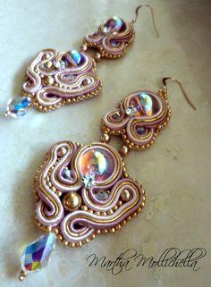 Martha Mollichella: Soutache Golden Raspberry Earrings - Oro Rosa