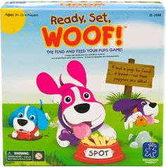 Ready, Set, Woof! Game and over 7,500 other quality toys at Fat Brain Toys. Shake the Dog Bowl Randomizer so the colored balls land to show you which color of fur and which color of collar you need to find. Now, find that puppy and feed it! This fun find-and-feed game teaches preschoolers visual discrimination, concentration, and pre-reading skills. 2-4 players. Ages 3+.