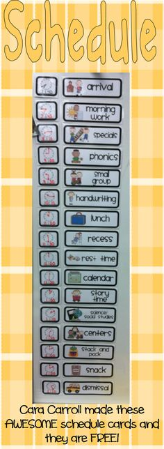 free visual schedule cards for preschool and kindergarten Classroom Organisation, School Organization, Classroom Management, Behavior Management, Time Management, Organizing, First Grade Classroom, Autism Classroom, Future Classroom