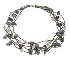 Kristall Süßwasserperlen Halskette, Natürliche kultivierte Süßwasserperlen, mit Kristall & Glas-Rocailles, natürlich, 15-22mm, verkauft per ca. 18.5 Inch Strang