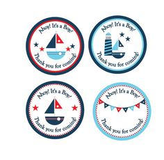Personalized 2 or 2.5 Round Nautical Baby by lovelypapercreations, $7.25