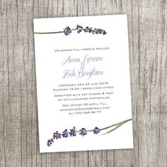 Anna Göran Design - Lavendel Ett inbjudningskort till bröllop eller fest Lavender wedding invitation