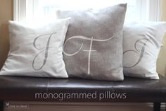 Monogrammed Pillows Tutorial