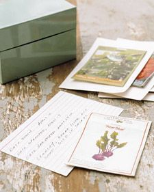 Staple seed packet to note card. Jot down info: when planted, etc. Keep in card file for reference. via Martha Stewart!  it's a good thing :)