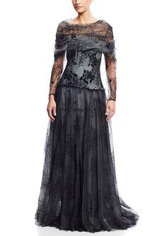 TADASHI SHOJI Lace Sleeve Ball Gown | ideel