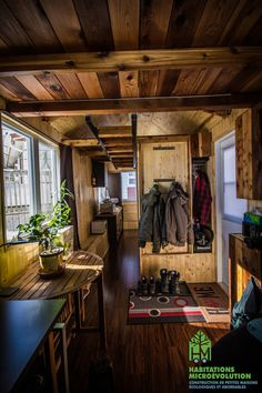 "This company adapts the ""tiny house"" to the Quebec climate. So if you live in a … This company adapts the ""tiny house"" to the Quebec climate. So if you live in a cold climate, look them up! Tyni House, Tiny House Living, Tiny House Design, Home Design, Interior Design, Tiny House Plans, Tiny House On Wheels, French Country Living Room, Tiny House Movement"