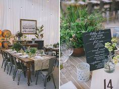 Black and white dinner menu. Industrial garden birthday party 50th. Lush garden meets industrial warehouse vibe. Edyta Szyszlo Photography. Venue: Pier 48 San Francisco, California.