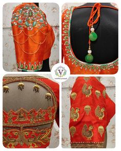 Popular Embroidery Designs Popular choice of the month already. Beautiful orange color bridal designer blouse with peacock and swan design hand embroidery gold thread and cut work on back of blouse. 02 May 2018 - Saree Blouse Neck Designs, Bridal Blouse Designs, Blouse Patterns, Latest Maggam Work Blouses, Maggam Work Designs, Back Neck Designs, Indian Designer Wear, Embroidery Designs, Hand Embroidery