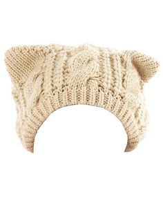 Persun Women's Beige Cute Cat Ears Thick Cable Knit Beanie Hat