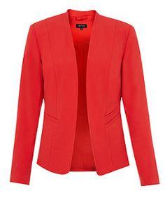 Rouge (Rouge) Blazer rouge cintré sans col | 313353460 | New Look