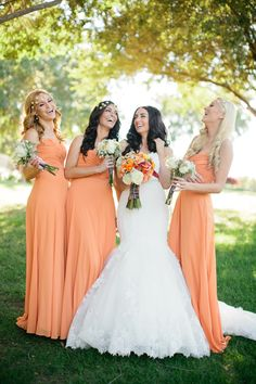 Fall wedding and orange bridesmaid dresses! So lovely. ©Jennefer Wilson