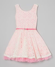 Love this Beautees Candy Pink Daisy Crocheted Belted Dress by Beautees on #zulily! #zulilyfinds
