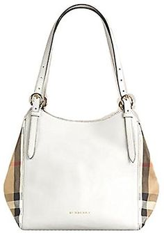 54541127e9 Tote Bag Handbag Authentic Burberry Small Canter in Leather and House Check  Natural Color Made in Italy