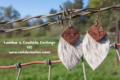 Leather and Cowhide Earrings by ReRideStories on Etsy