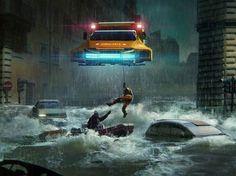 Flood Rescue by Ben Redekop Cyberpunk Art, Cyberpunk Aesthetic, Apocalypse Art, Steampunk, Some Beautiful Pictures, Landscape Concept, Futuristic Art, Science Fiction Art, Sci Fi Fantasy