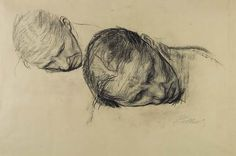Kathe Kollwitz : Dois estudos. Giz preto s/papel, 1903
