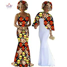 African Print Dress Dashiki Women 2 Pieces Set Original Cape & Braces Dress Maxi Dress Plus Size Women Clothing Long BRW WY140