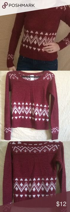 Red & white knit sweater Cute sweater Mossimo Supply Co. Sweaters