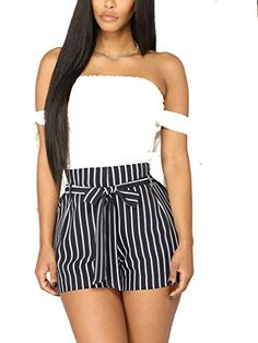Fashion Womens High Waist Striped Tie Belt Casual Shorts Summer Pleated Pants with Pocket ** Find out more about the great product at the image link. (This is an affiliate link) Short Outfits, Outfits For Teens, Short Dresses, Cute Outfits, Striped Shorts, Navy Shorts, Pleated Pants, Summer Shorts, High Waist