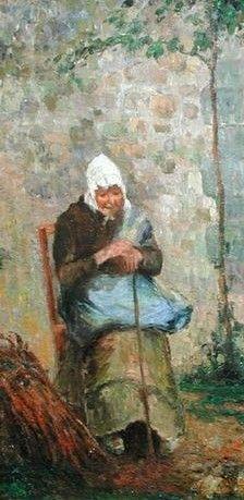 """Camille Pissarro (1830-1903) ~ """"La Charité"""" (Détail), 1876 ~ Huile sur Toile 56.3 x 46.2cm"""