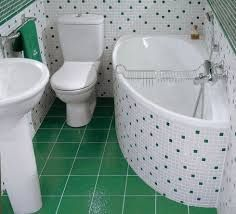Love the tiling and tub in this small bathroom, would go great with a corner vanity and corner toilet. Small Bathroom Interior, Modern Small Bathrooms, Tiny House Bathroom, Bathroom Design Small, Bath Design, Toilet Design, Simple Bathroom, Bathroom Designs, Bathroom Ideas