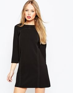 ASOS Contrast Stitch A-Line Shift Dress with 3/4 Sleeve