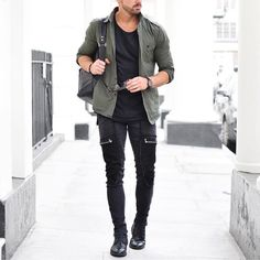 Green #military shirt and #bikerjeans by @rowanrow [ http://ift.tt/1f8LY65 ]