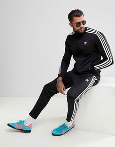 aa0c541c9e46 adidas Originals adicolor Beckenbauer Skinny Tracksuit in Black Mens  Tracksuit Pants