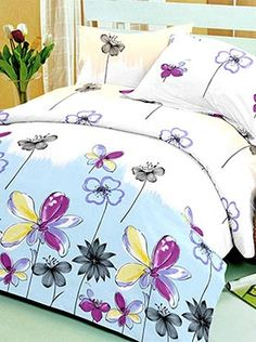 This bedsheet set has a pretty floral pattern that is young and artistic. The 100% cotton fabric offers optimum comfort and luxury. Its premium quality ensures that the colours will remain vibrant after multiple washes. You will feel cared for and comforted every time you slip under the sheets. The look, feel, and quality makes this set a complete package. Getting out of bed will be harder than ever! Info Cool Comforters, Getting Out Of Bed, Blue Life, Life Is Beautiful, Bed Sheets, Pillow Covers, Colours, Blanket, Pillows