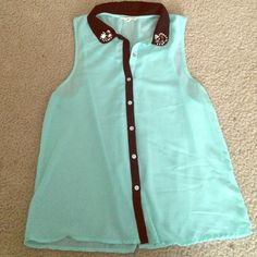 final reduction!Open back with jeweled collar Worn once! EUC. Button down. Sheer mint Tops