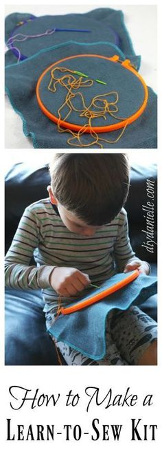 How to make a learn to sew kit for children: Perfect for trips, restaurants, and the doctor's office.