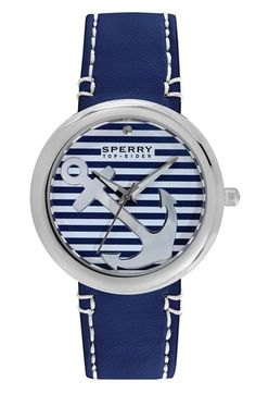 Sperry Top-Sider® 'Sandbar' Anchor Dial Leather Strap Watch, 40mm available at #Nordstrom, I want it