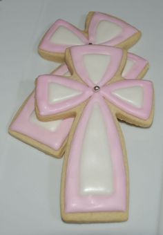 First Communion Cross cookies Cross Cookies, Fancy Cookies, Iced Cookies, Easter Cookies, Royal Icing Cookies, Cupcake Cookies, Christmas Cookies, Sugar Cookies, Cupcakes