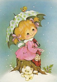 Girl with green umbrella and kitty - Mignonnes illustrations serie L (K.B)