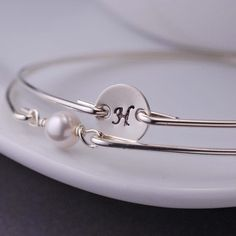 Bangle Bracelet Set, Silver Bangles, Simple Initial Bracelet Set, Stackable Bangles. $54.00, via Etsy.
