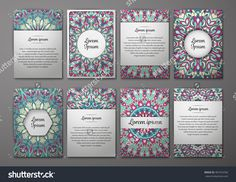 Flyers Template Set With Mandala Ornament Vector Greeting Card Design. Front…