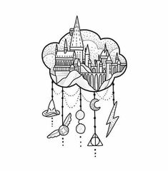 63 Ideas For Drawing Harry Potter Sketches Book Harry Potter Tattoos, Harry Potter Château, Harry Potter Stencils, Harry Potter Sketch, Harry Potter Castle, Harry Potter Symbols, Harry Potter Drawings Easy, Art Drawings Sketches, Easy Drawings