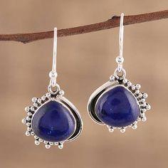 Fantasy Blue Lapis Sterling Silver Plated 5 grams Stud//Earring 10 mm Handmade Art Jewelry