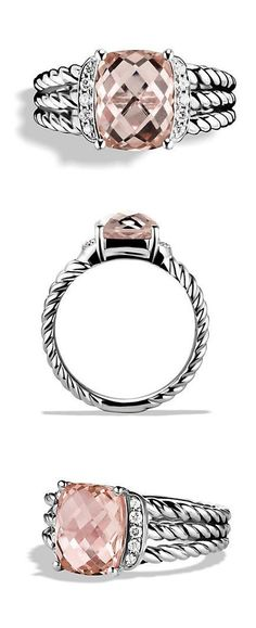 Morganite + Diamond Ring ❤︎ I love David Yurman jewelry. This would look great as a right hand ring! Jewelry Stores, Jewelry Box, Jewelry Accessories, Jewelry Design, Women Jewelry, Fine Jewelry, Diamond Rings, Diamond Jewelry, Morganite Ring