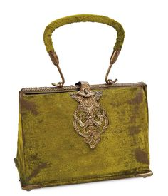 French Purse-Shaped Necessaire of Bronze-Green Velvet. French, circa 1870. http://Theriaults.com/