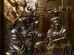 Fragment of Annunciation, section of the silver altarpiece with Life of the Virgin by Hans Dürer (overall design), Georg Herten (wooden frame), Peter Flötner (wooden reliefs), Pankraz Labenwolf (brass casts) and Melchior Baier (goldsmithery), 1531-1538, Kaplica Zygmuntowska, commissioned by Sigismund I the Old